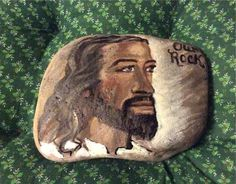 Jesus is Our Rock hand painted Rock by Linda Jean