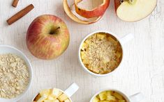 Mug apple crumble recipe by Lene Knudsen - To make the crumble, mix the chilled butter, fine oat flakes, flour, cane sugar and almonds. Get every recipe from Mug Cakes by Lene Knudsen Best Apple Desserts, Apple Dessert Recipes, Mug Recipes, Apple Recipes, Sweet Recipes, Vegan Desserts, Cupcake Recipes, Fall Recipes, Mug Cakes