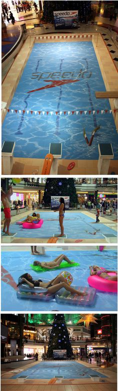Manfred Stader, 3D pool street art for the Opening of a Speedo store.
