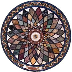 A beautiful kaleidoscope of rich colors, this classical Falak round marble mosaic art piece will give any space an instant lift. Use it to create a stunning kitchen backsplash or a focal wall in your master bath. Mosaic Tile Table, Mosaic Tile Art, Mosaic Artwork, Mosaic Crafts, Marble Mosaic, Stone Mosaic, Mosaic Glass, Mosaic Projects, Art Crafts