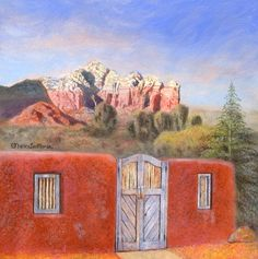 """Sedona Series #2 by artist Nancy Lee Moran in 2012, """"Beyond the Blue Door"""" is an 8×8 inches oil painting I created from two photos I took during December 2008 in the town of Sedona. Sugar Loaf is the low mound (rock formation) on the left side. Coffeepot formation is on the right. Inclusion of the adobe wall (part of a Sedona house) is a hint of surrealism (unexpected juxtaposition of elements), which is how the painting appeared to me in a dream. #Sedona #SugarLoaf #Coffeepot #RedRock #oilpaint"""