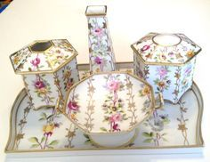 Nippon Hand Painted 5 Piece Vintage Floral Dresser Set Tray + 4 other containers.