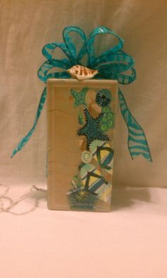 Hand Painted Glass Block, Flip Flops and Shells and Sand with Teal Lights Painted Glass Blocks, Decorative Glass Blocks, Hand Painted, Glass Block Crafts, Shells And Sand, Glass Boxes, Bottle Lights, Light Project, Primitive Crafts