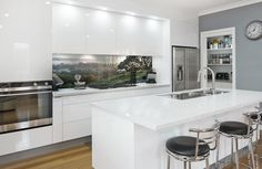 Printed image on glass kitchen splashback / backsplash by Lucy G. 'Morning Mist' http://www.lucygsplashbacks.co.nzLucy works with customers all over the world.