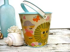 Vintage tin sand pail Safeguard soap pail whimsical by luckduck
