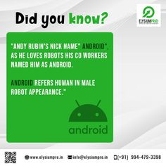 Know some interesting facts about Android. Andy Rubin, Interesting Facts, Did You Know, Knowing You, Fun Facts, Android, Names, Student, Funny Facts
