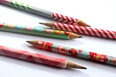 punk projects: Washi Tape Covered Pencils DIY i was looking for way of personalizar my pencils and pen :) found it