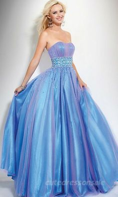 Tube Ball Gown Prom Dresses Blue Long Prom Dresses 00782