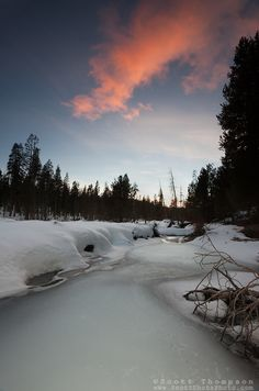 """""""Alder Creek Sunset 1"""" - Photograph of a sunset at an iced over Alder Creek in the Tahoe Donner area of Truckee, California."""