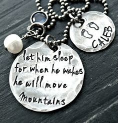 Hand Stamped Necklace - Sterling Silver Jewelry - Personalized Necklace - Mother and Son Necklace. $60.00, via Etsy.