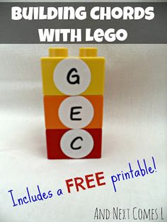 Music activity for kids: building chords with Lego - includes a free printable, from And Next Comes L
