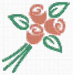 If you need a sweet little motif to stitch on  a card, gift tag, or pillow case then why not try this little bunch of roses.