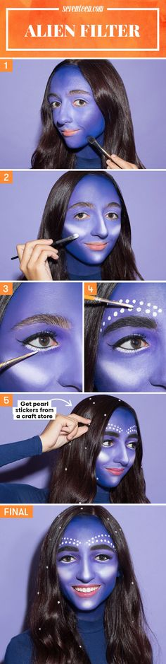 Step 1: Apply deep blue face paint around the outside of your face, then add a lavender shade to the center of your face. Blend the two together to create an ombré effect.  Step 2: Use white face paint to add some major highlighting to your cheeks, nose, and chin, just like in the filter.  Step 3: Grab a black liquid liner and wing it out along your top lashes. Then, use a small brush to apply a thin line of white face paint under your lower lashes (but NOT along your waterline).