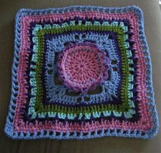 Pink Berry: 12-inch crocheted square