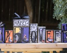 Nightmare Before Christmas - Happy Halloween Wood Block Decoration, Jack Skellington