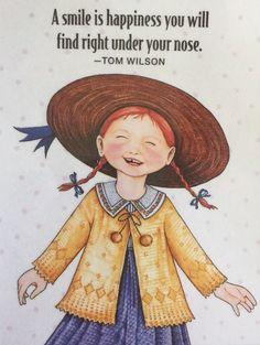 Handmade Fridge Magnet-Mary Engelbreit Artwork-A Smile Is Happiness