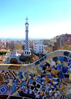 Barcelona Parc Guell. Antonin Gaudi. Colorful Tiles. Mosaics. Spain. Spanish Decor. Home Decor. Wall Art. Architecture. City View. Europe. Colorful Travel Photography by seardig  #parcguell #barcelona #Spanishhomedecor #spanishart #antoningaudi #gaudi #mosaic #tiles #colorful #homedecor