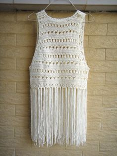d5fbd3b399b12 Hippie Long Fringe Beach Cover Up Crochet Vest Music Festival