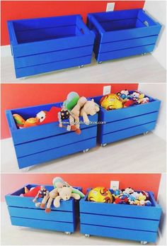Genius Ideas for Old Wood Pallets Recycling - DIY Pallet Ideas Wood Pallet Wine Rack, Wood Pallet Recycling, Recycled Pallets, Wood Pallets, Pallet Wood, Pallet Toy Boxes, Wooden Toy Boxes, Wood Boxes, Pallet Wall Decor