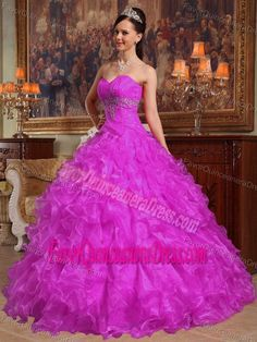 Fuchsia Ball Gown Organza Beaded Quinceanera Dresses with Sweetheart