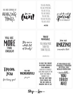Positive affirmations {PRINT and share with friends} - Positive quotes - Affirmation Karten, Words Of Affirmation, Positive Affirmations For Kids, Affirmations Positives, Positive Phrases, The Words, Notes For Friends, Party With Friends Quotes, Free Printable Quotes