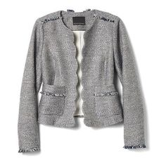 Scalloped Tweed Collarless Jacket | Banana Republic ❤ liked on Polyvore featuring outerwear, jackets, tweed jacket, collarless jackets, collarless tweed jacket, banana republic jacket and banana republic