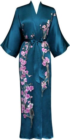 Silk Long Robes For Women | Silk Kimono- Handpainted (Long) - Bathrobe for Women The name of the game is comfortable elegance; this little masterpiece is just that.
