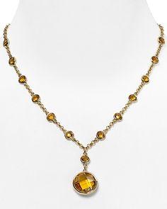 "Carolee Plated Bezel Pendant Necklace, 16""; COLOR: Light Colorado Topaz"