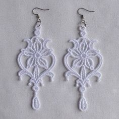 FSL Delicate Earrings 1 - 4x4 | FSL - Freestanding Lace | Machine Embroidery Designs | SWAKembroidery.com