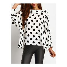 SheIn(sheinside) Black Polka Dots Batwing Sleeve Blouse ($22) ❤ liked on Polyvore featuring tops, blouses, black, collared blouse, polka dot top, polka dot blouse, long sleeve tops and collar top