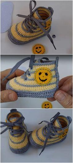 Crochet Lovely Baby Boots - We Love Crochet Crochet Baby Boots, Crochet Baby Sandals, Crochet Shoes, Crochet Slippers, Knitted Baby, Unique Crochet, Love Crochet, Crochet For Kids, Diy Crochet