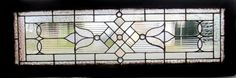 ~ ANTIQUE AMERICAN STAINED GLASS TRANSOM WINDOW 16 x 48 ARCHITECTURAL SALVAGE ~