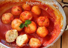 Ricotta meatballs with soft sauce and tasty recipe my know-how Antipasto, Ricotta Meatballs, Italian Main Dishes, Pasta Recipes, Cooking Recipes, Tasty, Yummy Food, Albondigas, Happy Foods