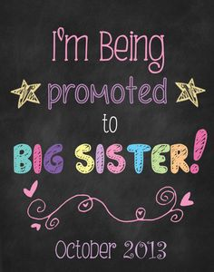 Printable Big Sister or Pregnancy Announcement Photo Prop by ChalkingItUpBoards on Etsy, $10.00