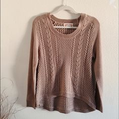"""Hi-lo knit sweater Preloved excellent condition. 100% acrylic.  Length shoulder to back bottom 26.5, shoulder to front bottom about 21"""". Armpit across 16.5"""", sleeves 27"""". Measurements were taken flat and not stretching Sweaters Crew & Scoop Necks"""