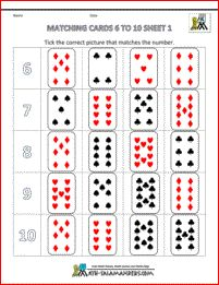 counting to 10 worksheets matching cards 6 to 10 1