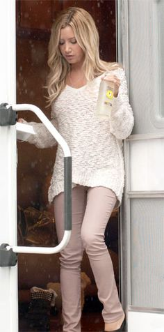 Ashley Tisdale rocks a super cozy Free People Songbird Pullover when she was spotted took a breaking from shooting her first day on her staring role in Scary Movie 5 in Atlanta, GA. September 4, 2012.