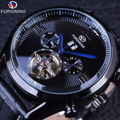 >>>Up to 80% Discount<<< Forsining Black Genuine Leather Blue Hands Full Black Tourbillion Streamlined Dial Mens Watches Top Brand Luxury Automatic Watch – 24hr.Watch