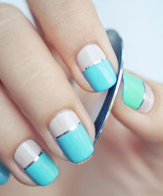 These simple yet incredible-looking nail designs only require nail tape and a little creativity. Here are 18 striped nails you are going to love. Nail Striping Tape, Nail Tape, Nail Art Stripes, Striped Nails, White Nails, Gorgeous Nails, Love Nails, Nail Art Designs, Color Block Nails