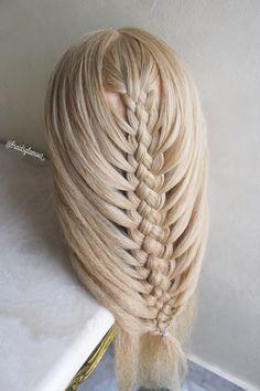 Five strand mermaid braid Basic Hairstyles, Braided Hairstyles Tutorials, Pretty Hairstyles, French Braid Styles, Competition Hair, Mermaid Braid, Long Hair Tips, Pigtail Braids, Hair Dos