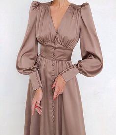 Satin Midi Dress, Maxi Dress With Sleeves, Satin Dresses, High Waist Dresses, Long Sleeved Dress, Long Satin Dress, Brown Satin Dress, Women's Dresses, Long Dresses