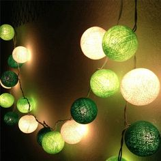 cotton balls on sale at reasonable prices, buy 20 Cotton Ball White Green Dark Green LED String Light Home Decor Garlands for Wedding Party Fairy Lights Romantic Lamp from mobile site on Aliexpress Now! Holiday Lights, Christmas Lights, Summer Christmas, Yarn Lanterns, Cotton Ball Lights, Green Theme, Green Colors, Green Led, Led String Lights