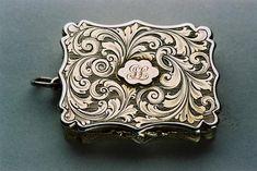 Nathaniel Mills silver vinaigrette. Period: Victorian, 1847. Birmingham by Nathaniel Mills.