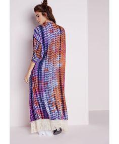 Tie Dye Crochet Hem Kimono Purple - Tops - Kimono - Missguided