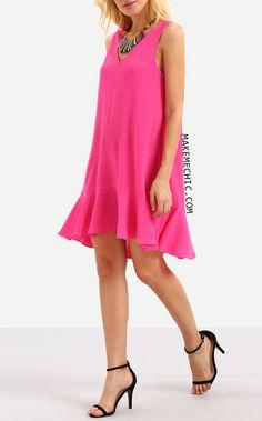 Hot Pink Sleeveless Ruffle Shift Dress