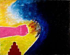 1. De schilder brengt het gevoel aan tussen de mens(links) en de natuur(rechts) De mens vecht(vuist) tegen het donkere water om het land te beschermen. 2. De schilder heeft het gevoel van strijd gecreërt d.m.v. hele donkere en hele lichte kleurem te gebruiken. Hiermee krijg je een licht donker contrast. Ook heeft hij grove toetsen gebruikt.