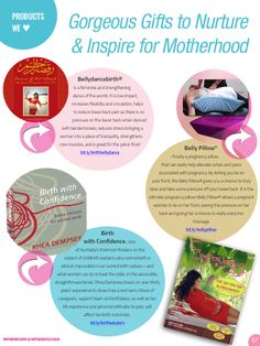 #Products We Love (for #motherhood) Bellydancebirth DVD by Maha Al Musa/ #Birthing with Confidence by #Rhea Dempsey/ #Belly Pillow. As seen in #Empowering Birth Magazine CELEBRATION issue!