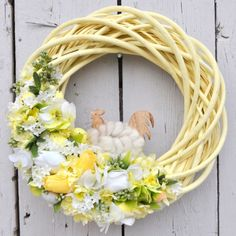 Wianek wielkanocny Nr 155 Easter Wreaths, Spring Wreaths, Easter Crafts, Easter Decor, Easter Flowers, Grapevine Wreath, Grape Vines, Floral Wreath, Jar