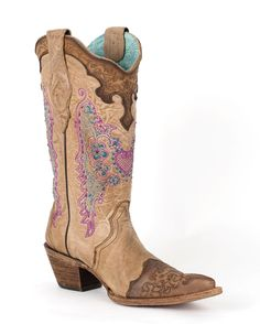 Corral Women's Chocolate Sand Embroidered Lace & Heart Boot - C1608