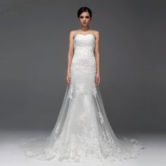 Gorgeous strapless trumpet / mermaid chapel train bridal gowns,wedding dress